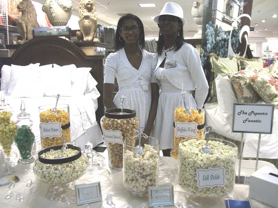 The Popcorn Fanatic was available to talk to couples about all their popcorns and candies at the Belk Engagement Party.