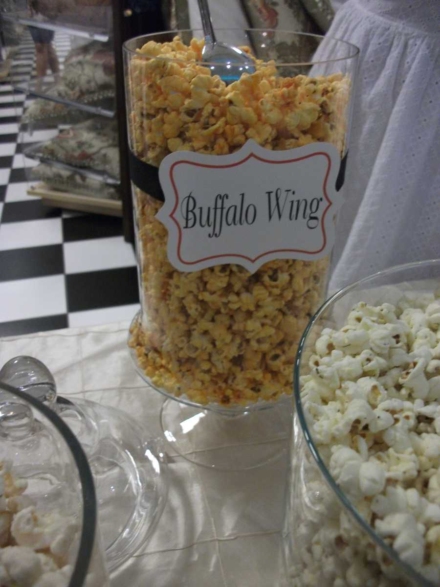 Buffalo Wings in a popcorn? That's just one of many flavors by The Popcorn Fanatic at the Belk Engagement Party.