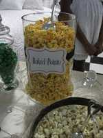 Baked Potato Popcorn? Another favorite of the guests. This could knock out two birds with one stone. A reception bar and a favor for the wedding guests to take home in a baggy with names and the wedding date. (The Popcorn Fanatic)