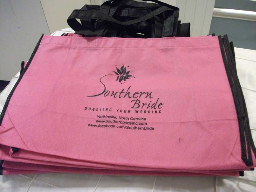 These bags were great for carrying not only information from the Southern Bride, but also all the other goodies from other booths at the Belk Engagement Party. Also later you'll remember who you may want to do business with for your wedding planning.