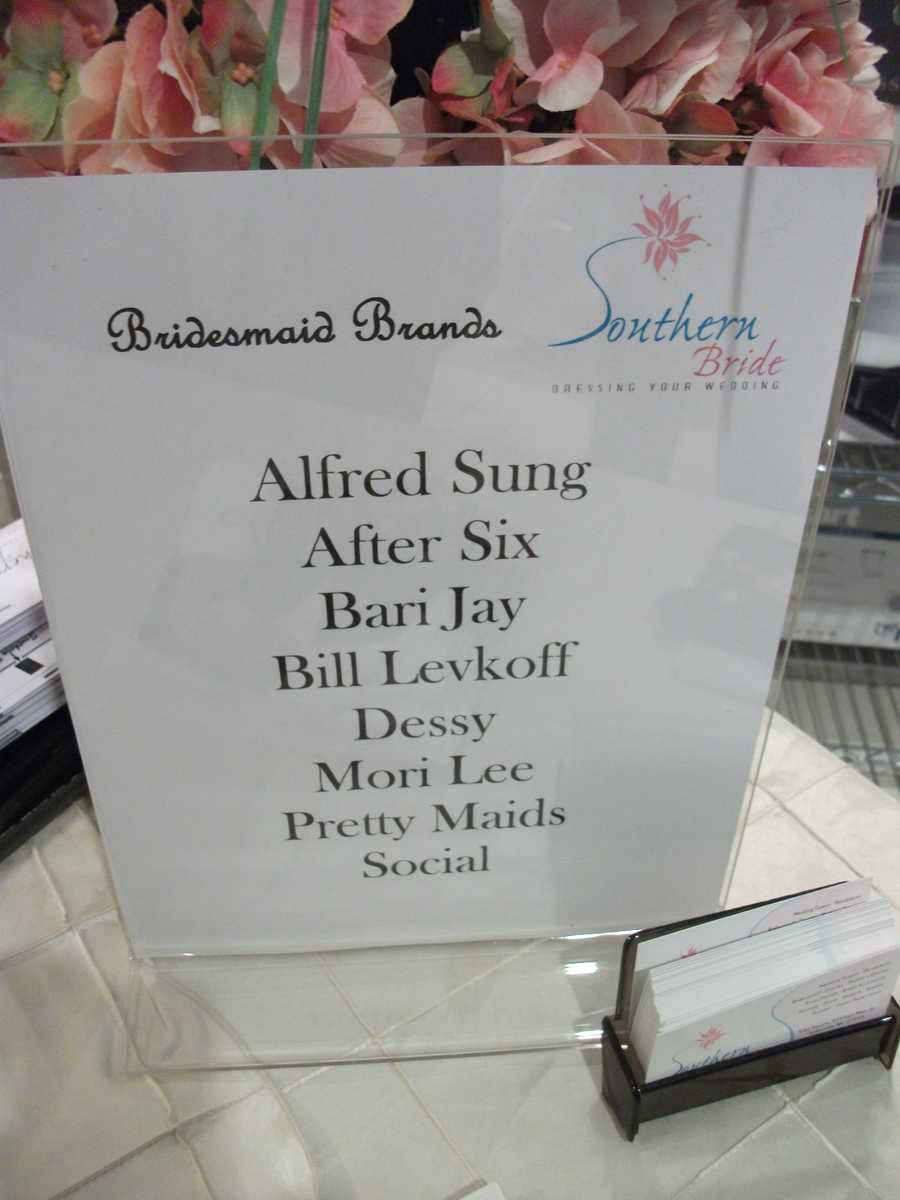 "A listing of all the ""Bridesmaid Brands"" was on the booth which was very helpful and smart by Southern Bride."