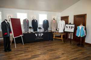 VIP Formal Wear was available at the WinMock Bridal Show to talk  with couples about what they may need for their wedding party.