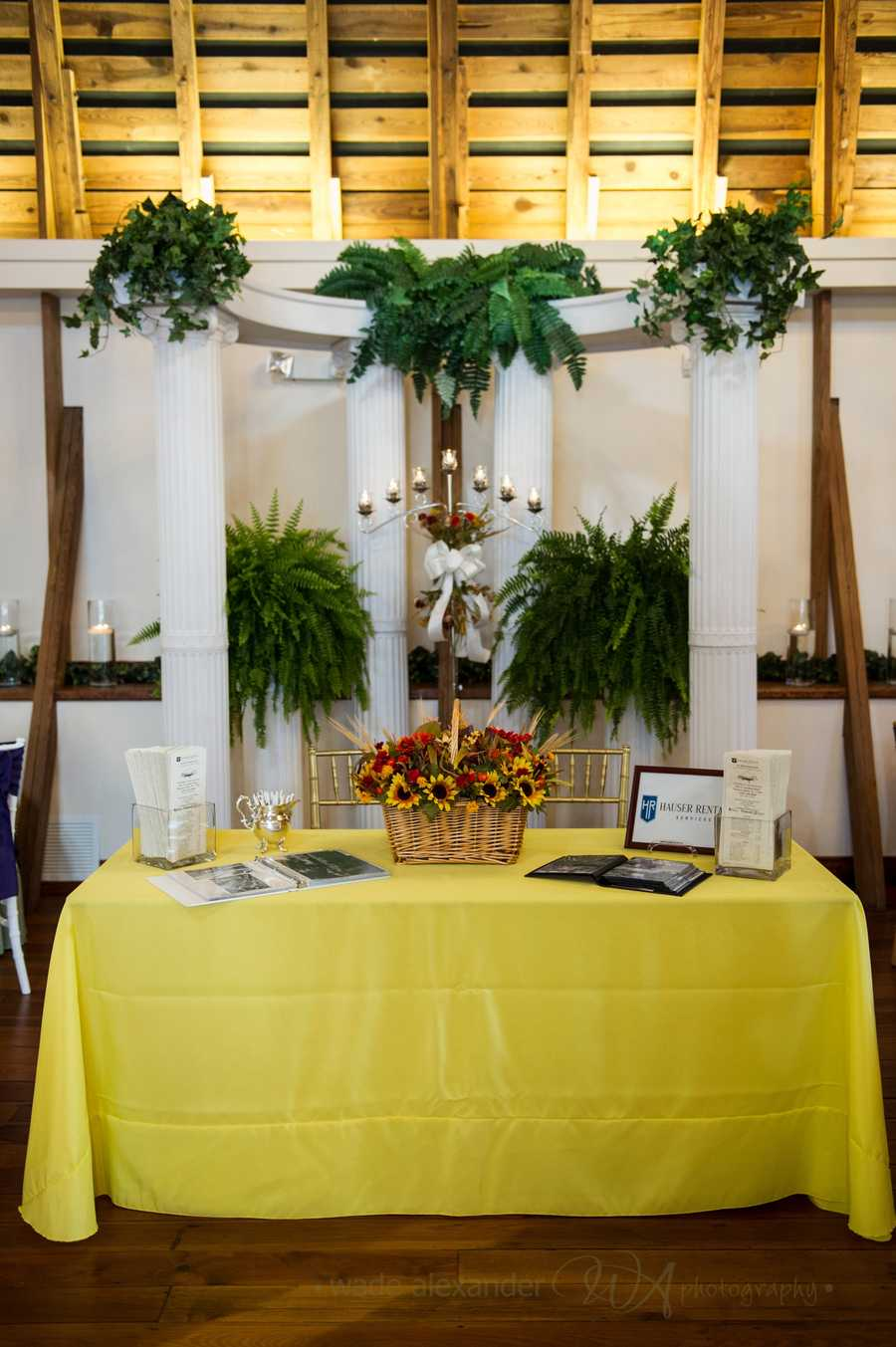 Hauser Rental Company decorated several tables at the WinMock Bridal Show.