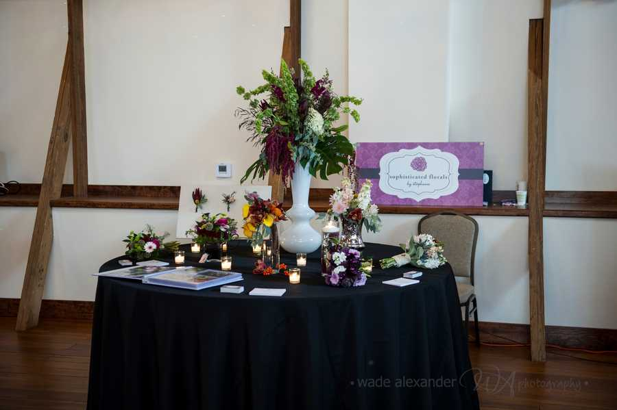 Sophisticated Florals by Stephanie was present at the WinMock Bridal Show to show couples some more flower arrangements for their wedding planning.