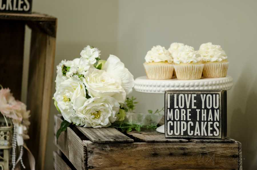 "This cool ""I love you more than cupcakes"" can be a neat sign to show the desserts names and/or show the whimpsy in the couples fun selections. Great ""Country/Western"" themed wedding setup. (WinMock Bridal Show)"