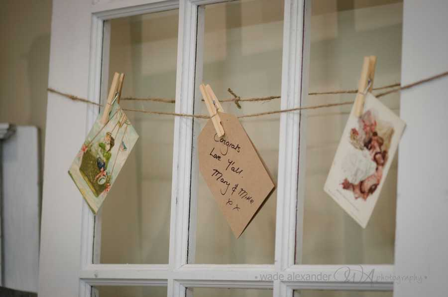 This close line is a sweet idea for cards for your guests to sign and leave you a note for your memories of that perfect day. (WinMock Bridal Show)