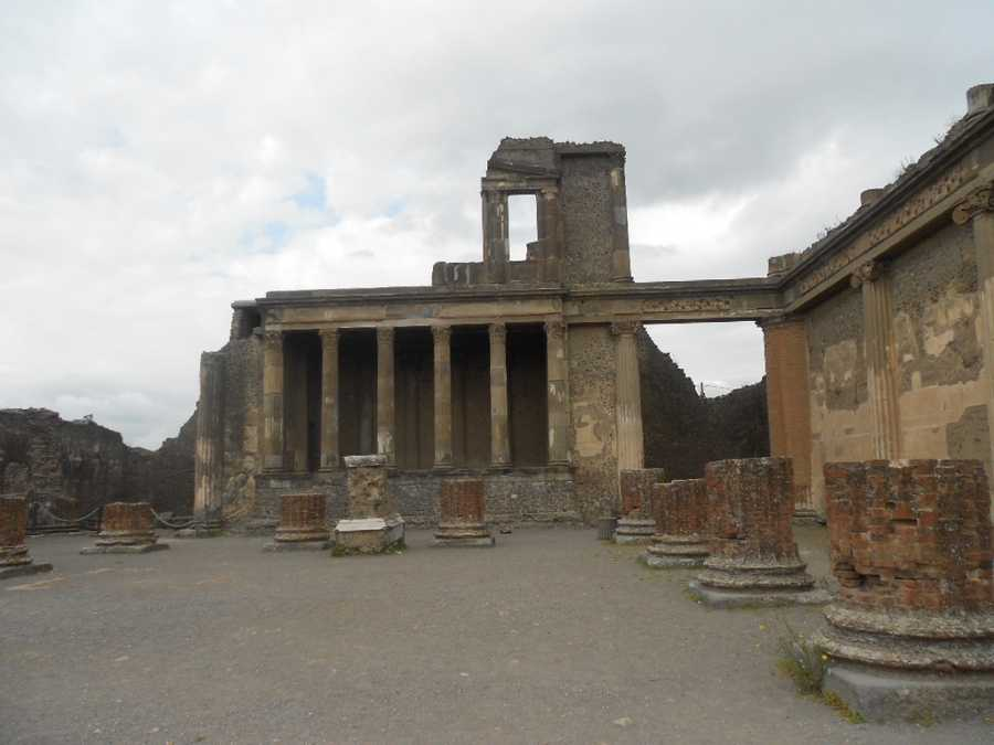The city of Pompeiiis a partially buried Romantown-city near modern Naples. It is in the commune of Pompei. The Pompeii Ruins are great for with roman stylearchitecturefor your wedding pics.