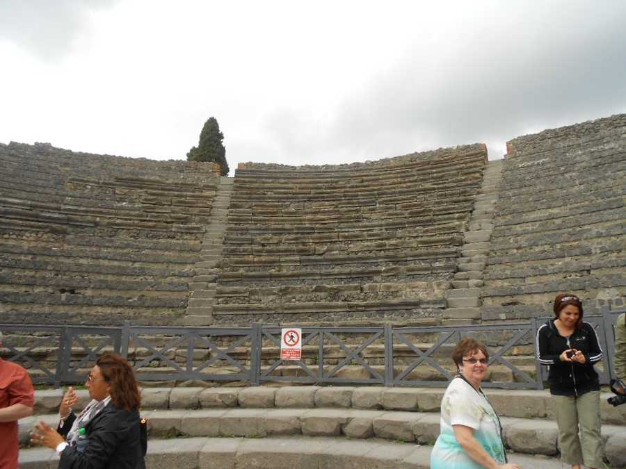 The Theatre at Pompeii. Maybe this would make great wedding photos with lots of drama, tragedyor comedy.