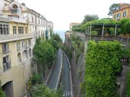 Sorrento, Italy roadway going out to the Amalfi coastline. Maybe you want a beach wedding in an Italian destination?