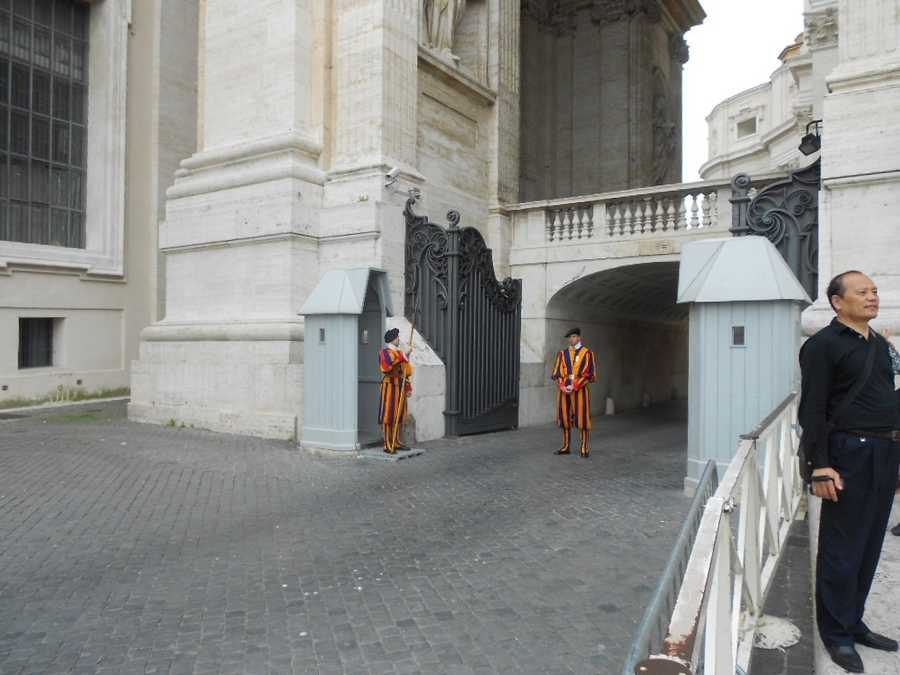 The Italian guards at St. Peter's Bascilia in the Vatican are dressed very colorful and it has been their uniform for centuries. Maybe your wedding can have some colorful decor or just enjoy the honeymoon in the great city of Rome, Italy.