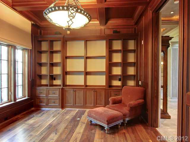 Home Office with coffered ceiling