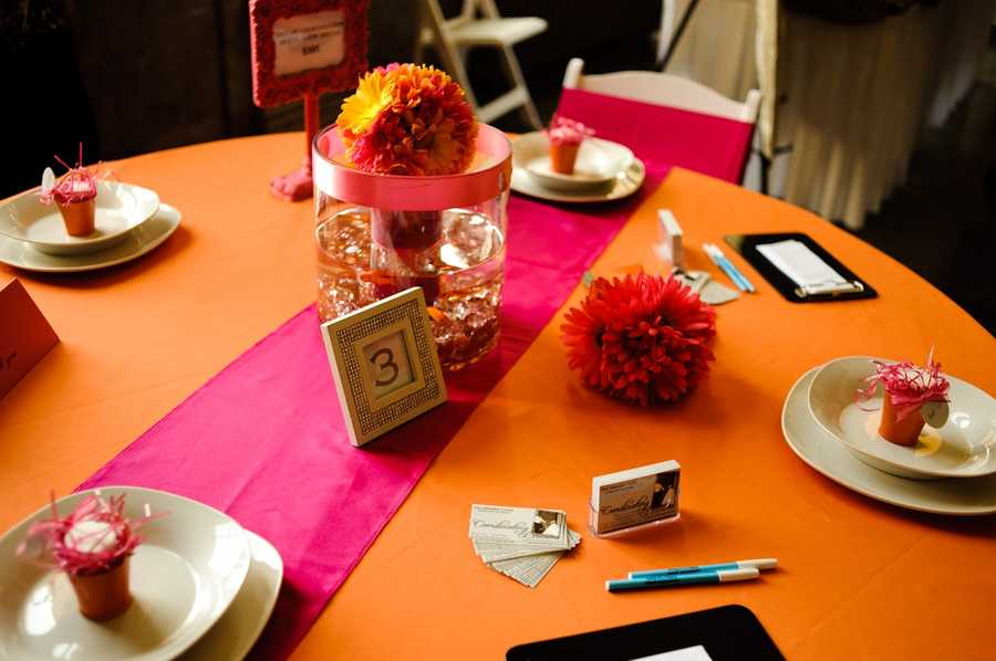 Bright vibrant colors can be used for theFall, Halloween and/or Thanksgiving Themed Wedding, but other wedding colors you like can be used too. The use of pink here for the reception tables or black if you are going with the Halloween theme.