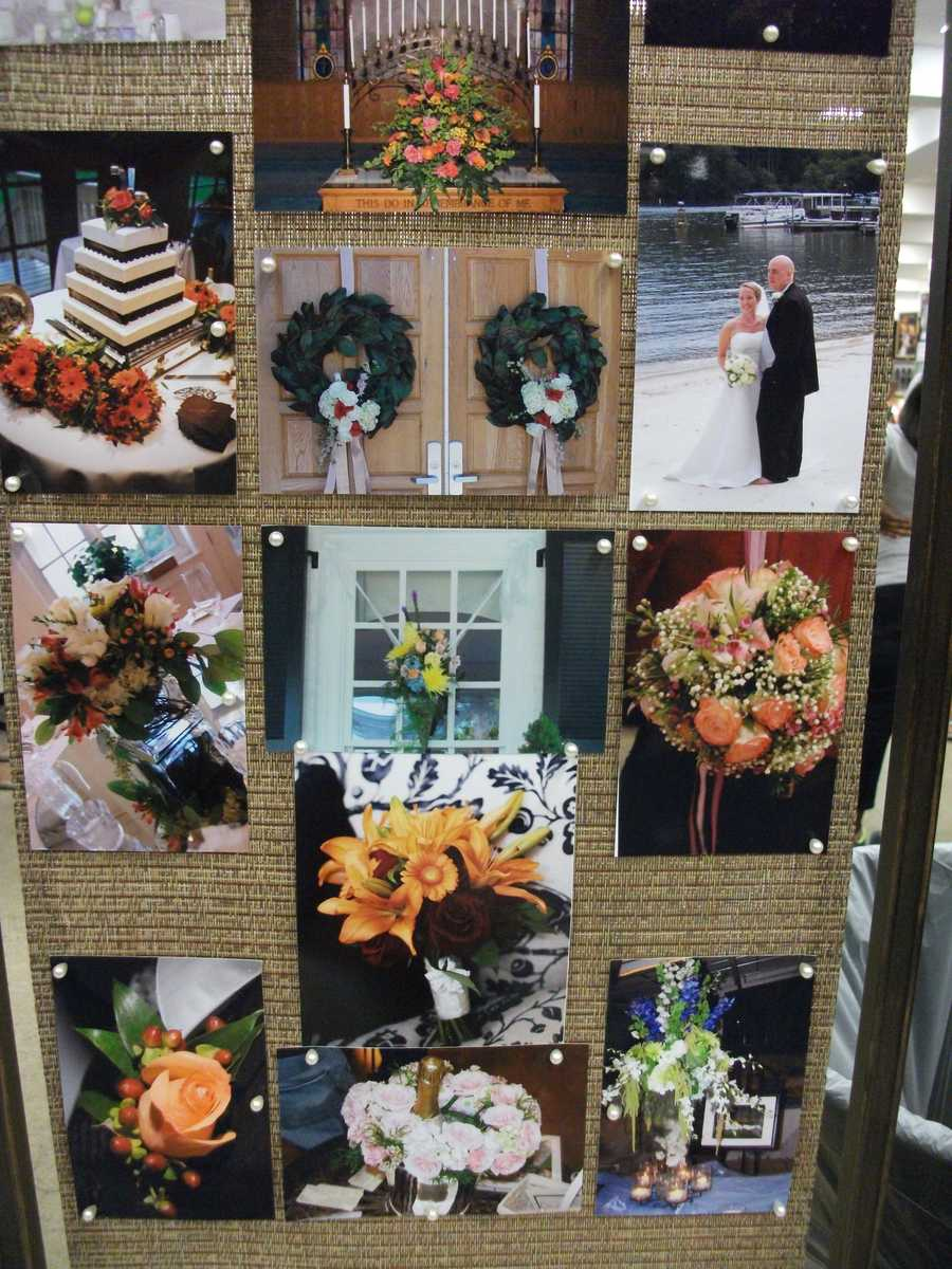 Several flower arrangements and cake ideas for theFall, Halloween and/or Thanksgiving Themed Wedding. (Beverly's of Midway Flowers & Gifts)