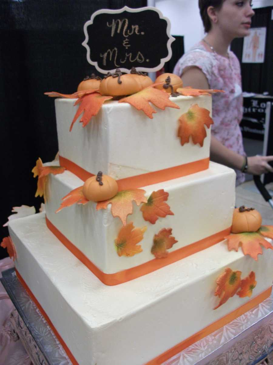 Cake and All Things Yummy can serve up a wedding cake like this one for yourFall, Halloween and/or Thanksgiving Themed Wedding.