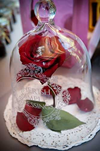 "Using a few simple things like a single rose under glass brings big meaning of the ""Beauty and The Beast"" storyline."