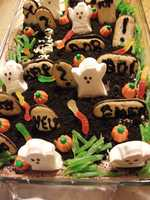 This dessert could be served up for your Halloween themed wedding at one of the bridal parties or showers. (Ghosts In The Graveyard Recipe).