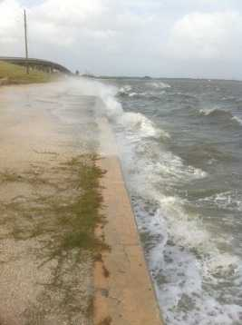 Waves hit the sea wall in Port Canaveral, Fla.