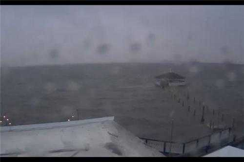 Rough seas at Fagers Island in Ocean City, Md.