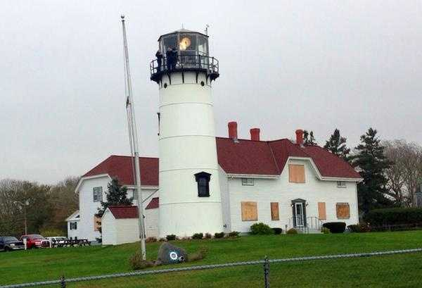 The lighthouse in Chatham, Mass., prepped for the storm.