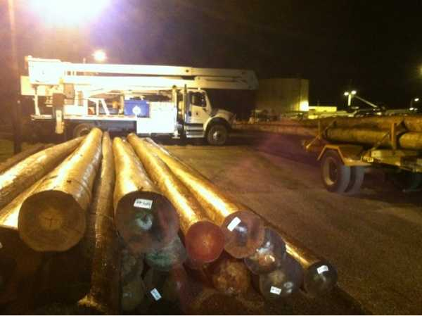 Utility crews prep for the storm in Carroll County, Md., on Sunday night.