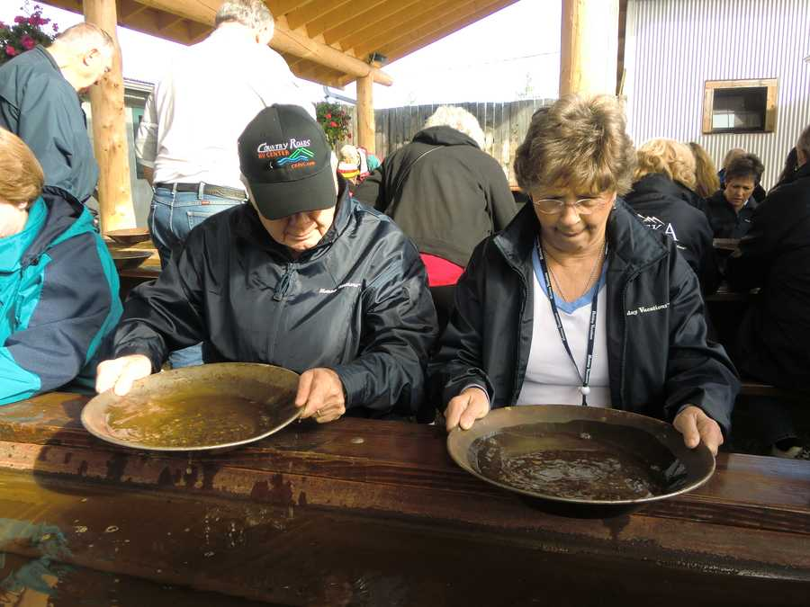 Panning for gold at the Gold Dredge 8 in Goldstream Valley.