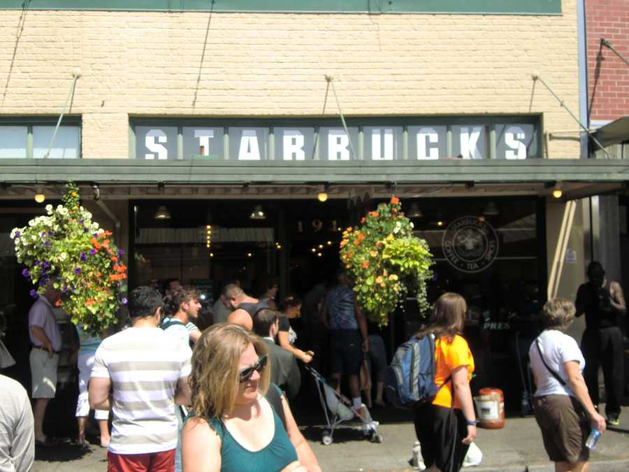At Pike Place Market in Seattle, Washington the tour group could get a nice latte at Starbucks as they start their day.