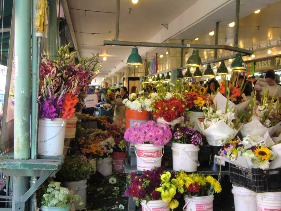 Several fresh cut flowers for everyone at Pike Place Market in Seattle, Washington.