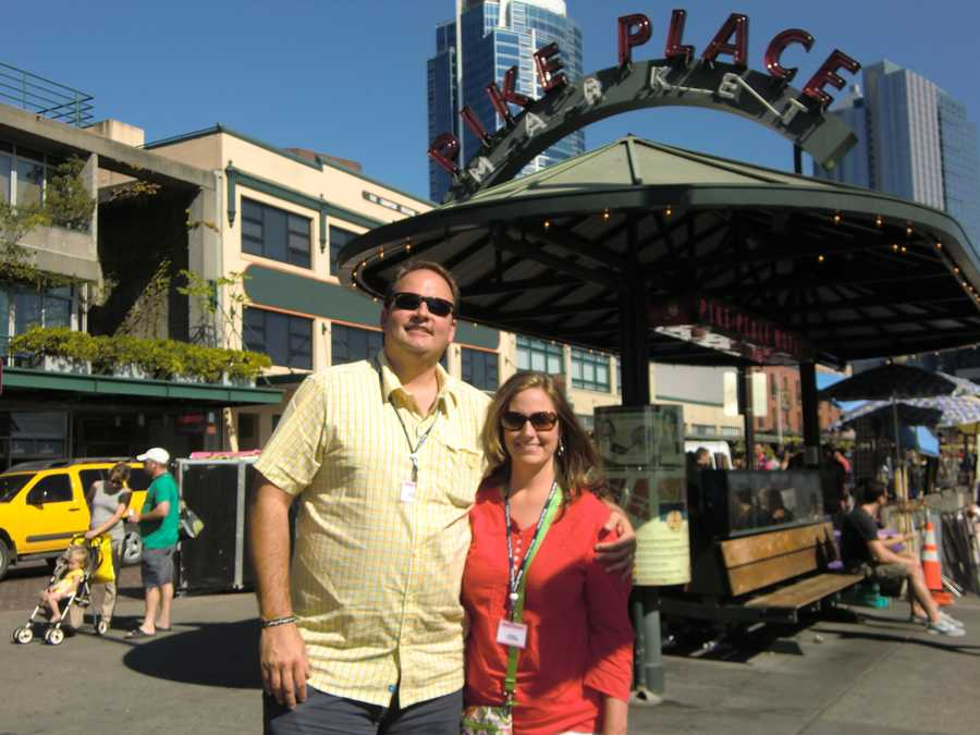Austin and his wife, Angela enjoy Pike Place Market in Seattle, Washington.