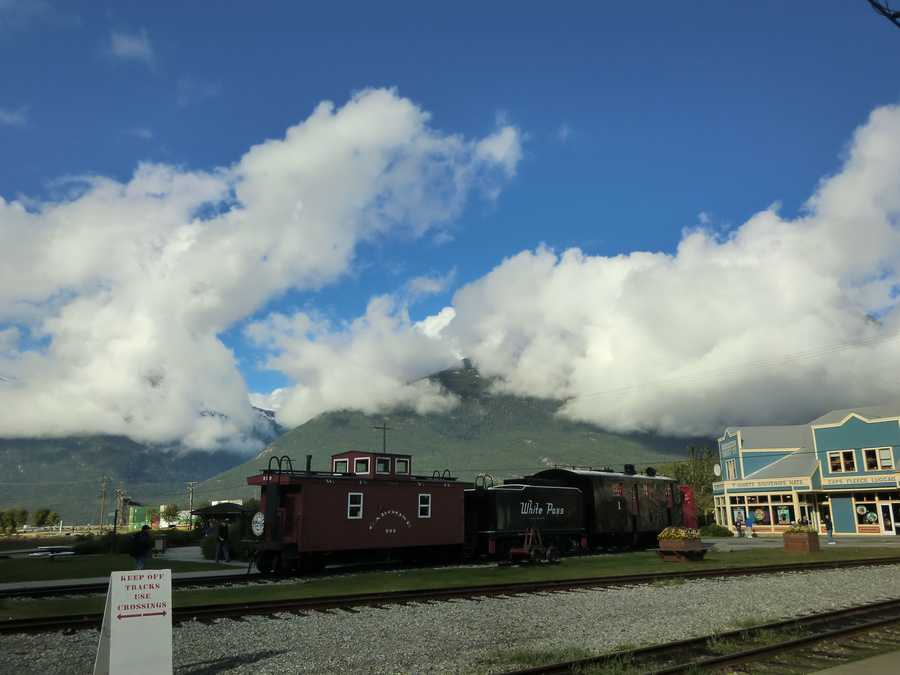 Getting ready to be taken away by the White Pass Train in Skagway, Alaska.
