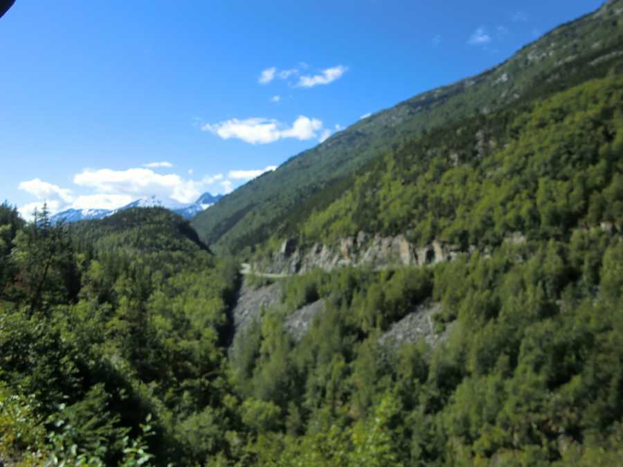 The White Pass Trainride starts at Skagway and goes up to a 2,865 foot rise in elevation to theSummit of the White Pass.