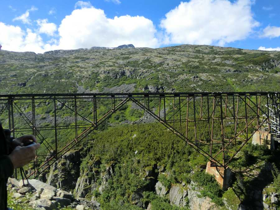 During the Klondike Gold Rush, this railroad was built in 1898 and has become an International Historic Civil Engineering Landmark.