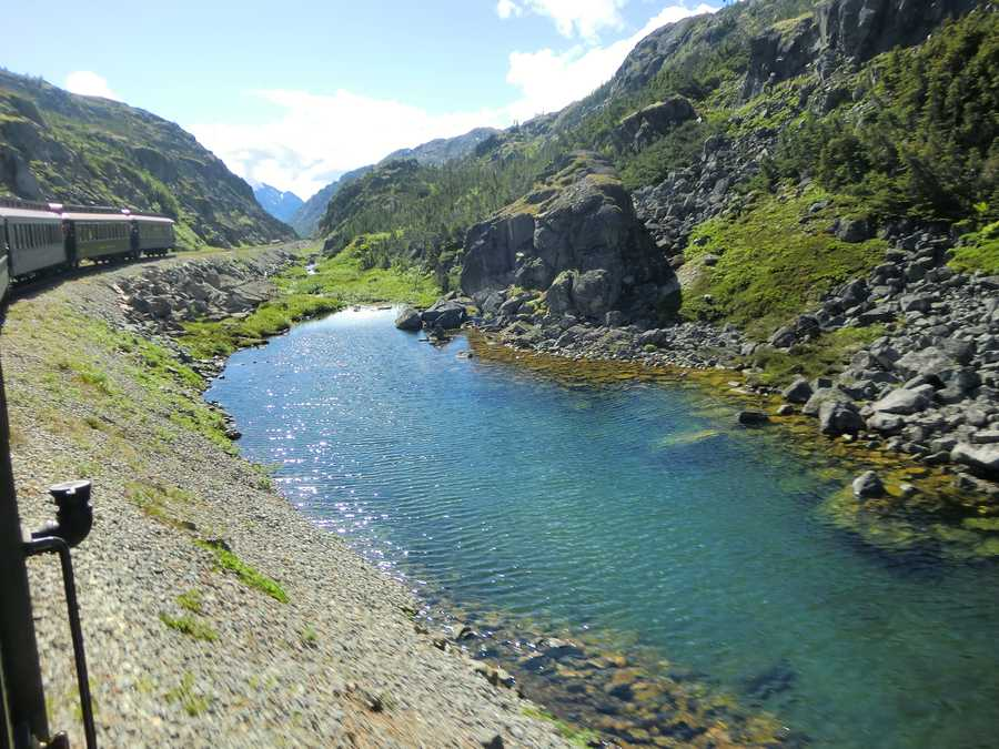 Several glaciers, creeks and lakes can be seen along the way on the White Pass Train route.