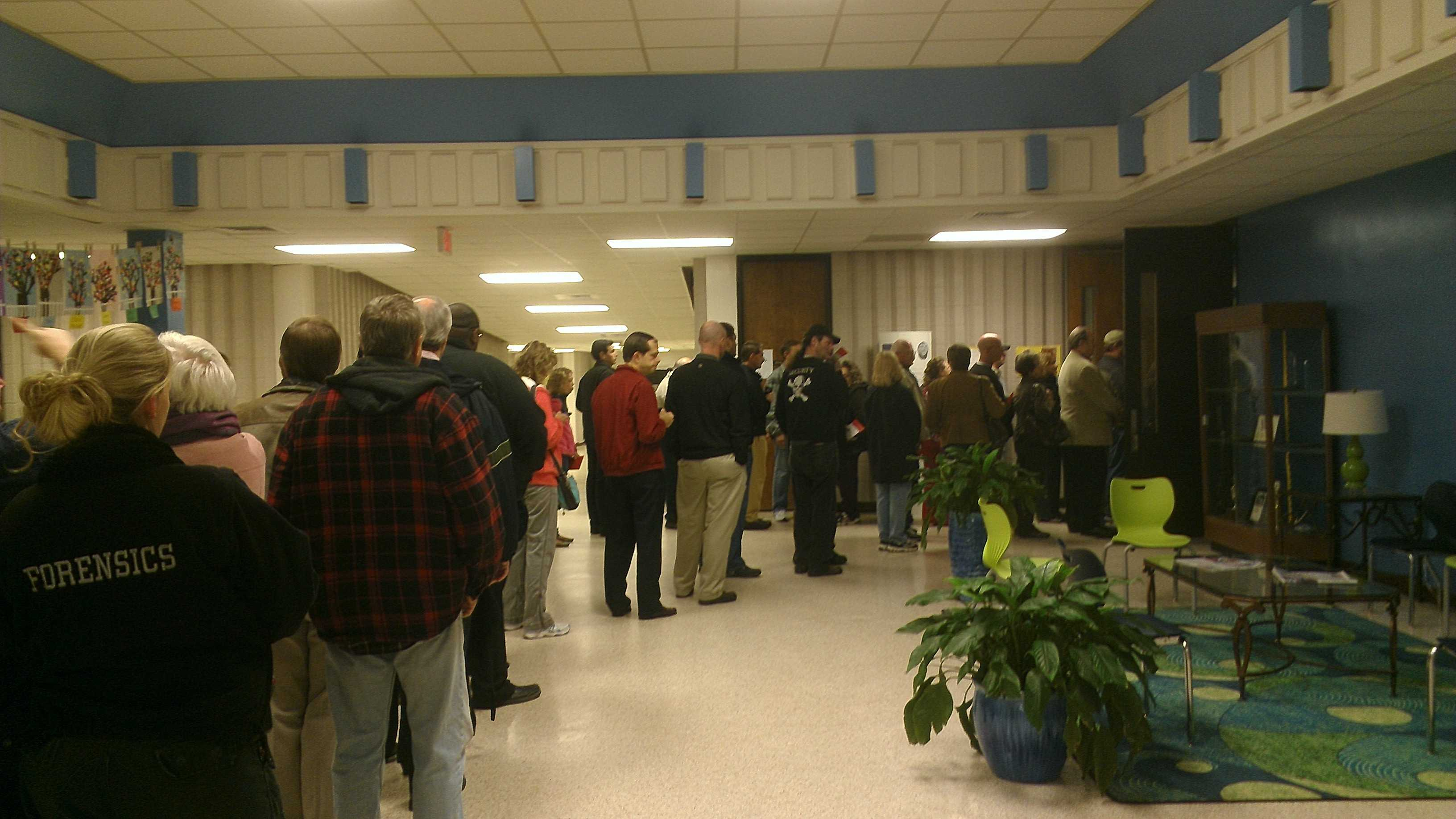 Voters line up Tuesday morning in the Piedmont.
