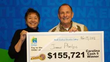 Jimmie Phelps and his wife, Susan. (Photo provided by North Carolina Education Lottery)