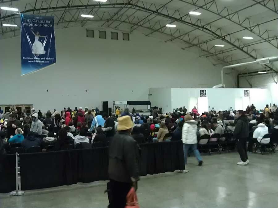 Several hundred people were in line at the start of the event.