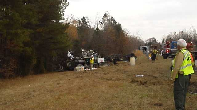 Truck crash, HazMat situation on I-85