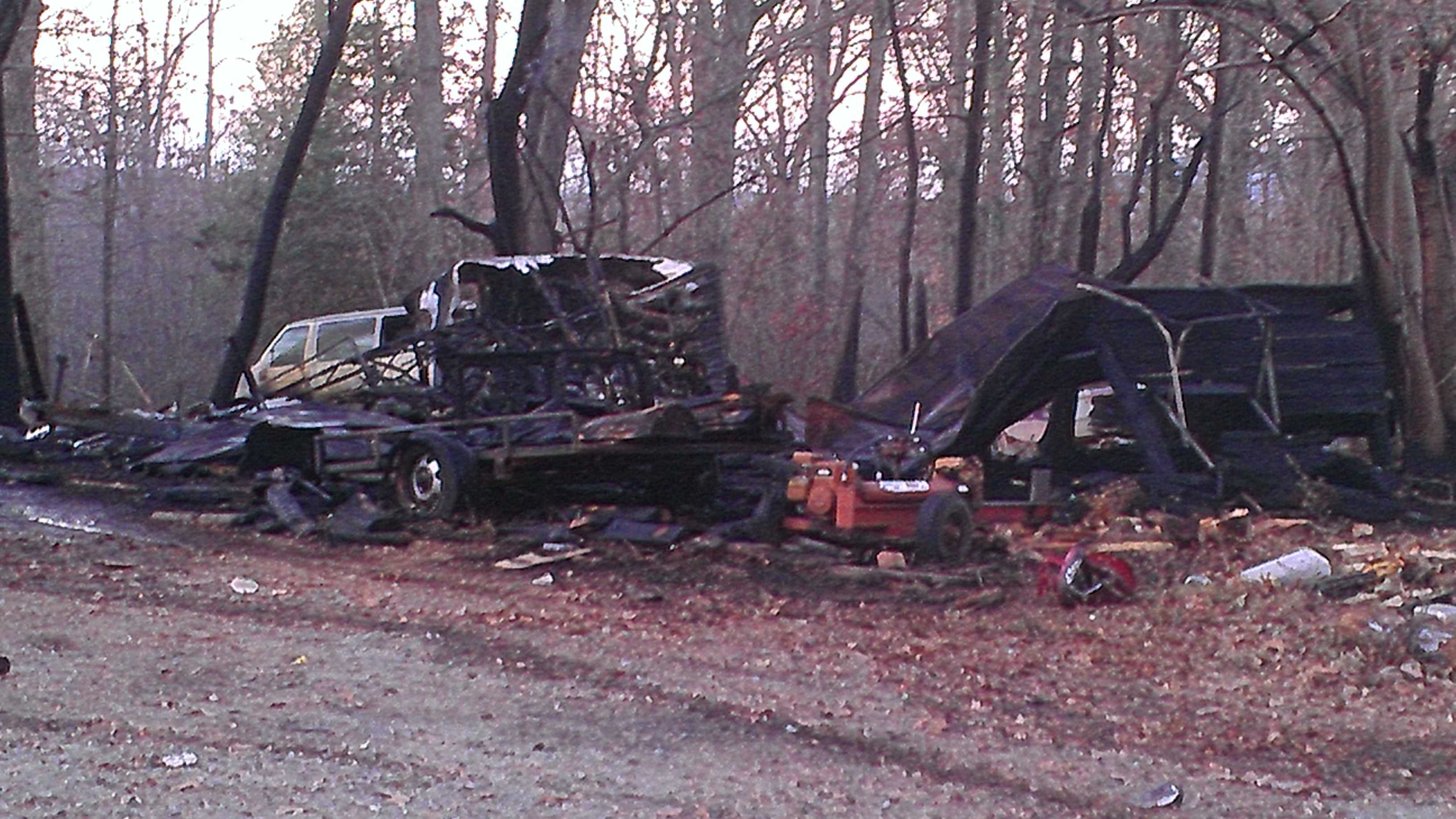 The fire occurred Monday afternoon in southern Davidson County (photo by WXII's Doug Miller)