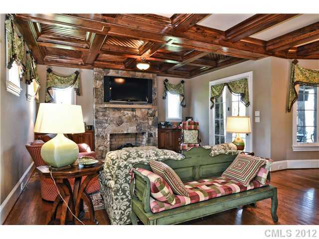 Den with coffered ceiling