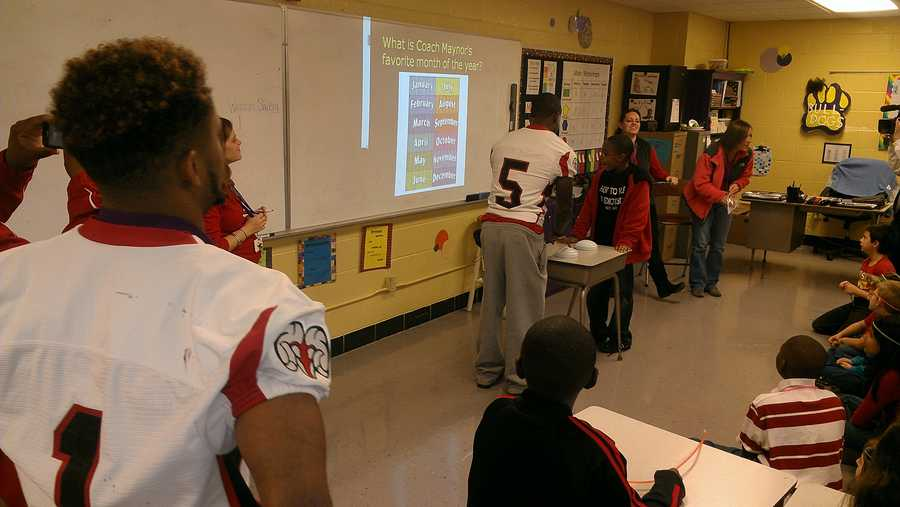 Rams players visited students in classrooms at Wilson Elementary School in Sheffield, Alabama.