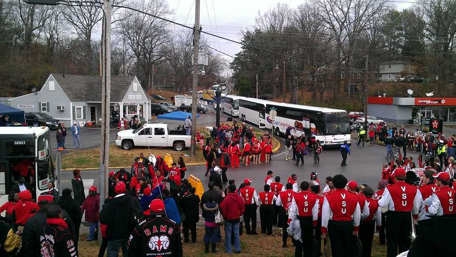 WSSU's fan buses arrived in Florence, Ala. hours before the Division II national championship game. (Kenny Beck/WXII)