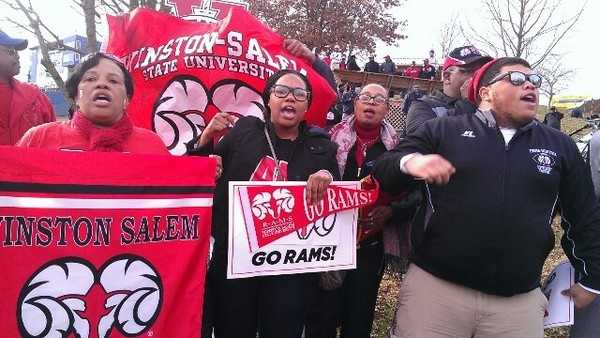 "Hours before the national championship game, WSSU fans were ready to cheer. Kenny tweeted, ""Our fans our louder than your fans, btw."" (Kenny Beck/WXII)"