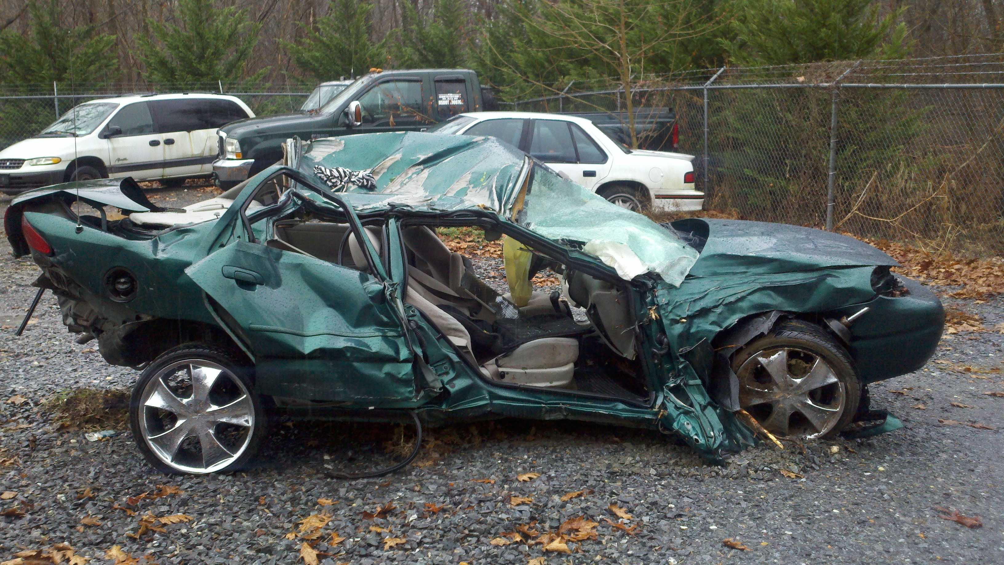 This was the car involved in the crash, according to Surry County EMS director John Shelton.