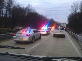 Traffic was backed up on both lanes, but the scene was cleared by 8:45 a.m.
