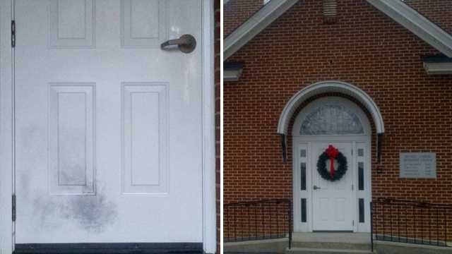 The result of the arson attempt at Bethel United Methodist Church can be seen on the left. (Rich Cisney/WXII)