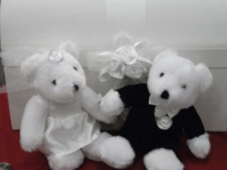 """You could tie the ring on one of these bears with a card with """"Will You Marry Me?"""" written on it. Stuffed animals are always given on Valentine's Day, so these cute guys would make great decorations for a table at the reception. Maybe the gifts table, book signing table or even the table for seating cards for the guests."""