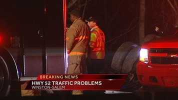 A tractor-trailer carrying liquor went down an embankment around 8 p.m. Wednesday on U.S. 52 near exit 116 which is the Hanes Mill Road exit. All lanes were temporarily closed overnight.