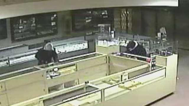 Surveillance image of jewelry store burglary (Reidsville police)