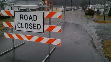 Part of Givens Street in Galax was closed Tuesday morning due to flooding. No evacuations are expected. (William Bottomley/WXII)
