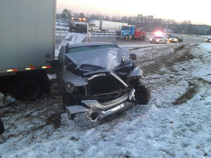 WXII's Brian Slocum uploaded these photos of a Friday morning accident in Archdale. Police said a tractor-trailer jackknifed on I-85 and hit two other vehicles.