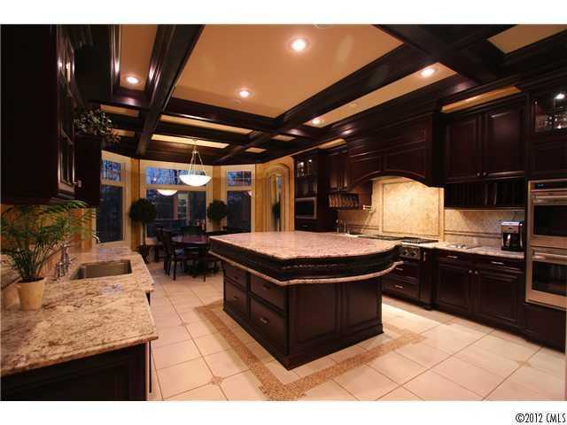 Gourmet Kitchen with coffered ceiling